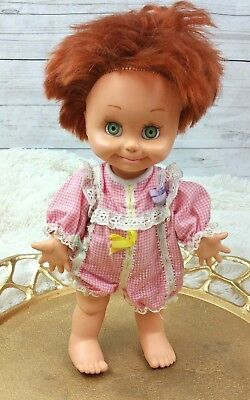 "VTG LGTI 90s Galoob Baby Face Doll 14"" POSEABLE #9 jointed red hair green eyes"