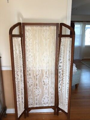 VINTAGE 3 PANEL Hinged Wood 60 Tall Room Divider Lace Curtains