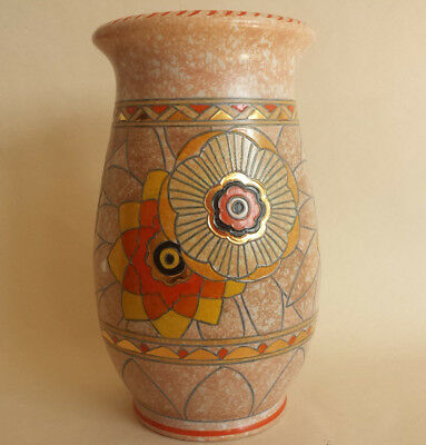 Art Deco Charlotte Rhead Crown Ducal Very Large gilded 'Rhodian' Tubelined Vase