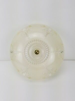Antique VICTORIAN Ceiling Light Globe Shade ART DECO Hanging Fixture Vtg Floral