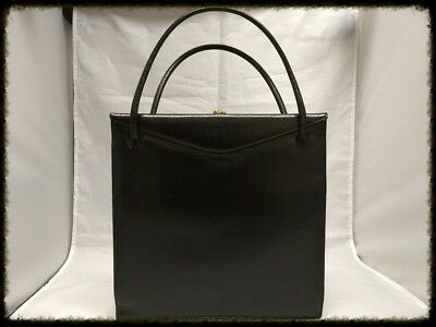 Vintage Black Leather Nettie Rosenstein Kelly Style Handbag DS35