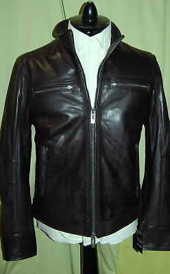 NWT ROGUE STATE mens black biker leather zip jacket M - Wilsons Leather $900