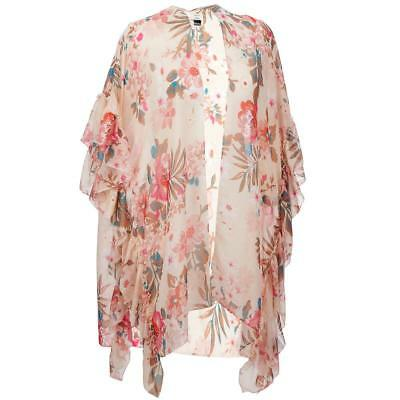 Wilsons Leather Womens Ruffled Floral Wrap