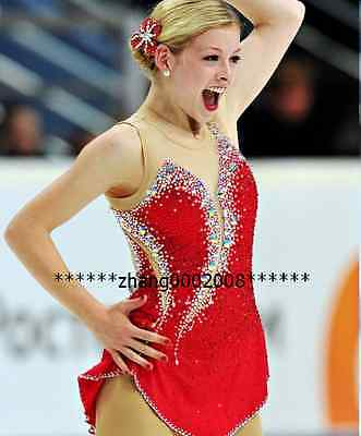 Ice skating dress. red Competition Figure Skating Baton Twirling Costume child16