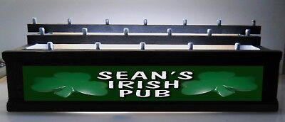 BLACK LED BEER TAP HANDLE DISPLAY Personalized Lighted IRISH PUB SIGN HOLDS 18