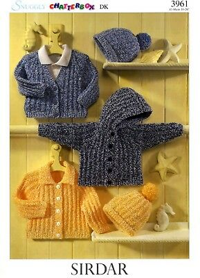 "Sirdar-3961  ""COPY"" Baby / Childs Cardigans and Hat Knitting Pattern  8 Ply"