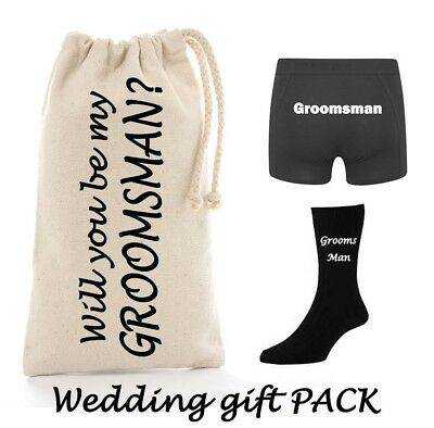 Will you be my Groomsman Bestman Gift PACK Personalised wedding underwear socks