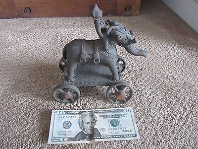 Antique Temple Pull Toy Bronze Elephant Folk Art Indian Tibetan Asian Old 1800's