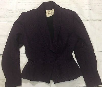 Vintage 50s Lilli Ann Suit Jacket Peplum Nipped Waist Wool Fully Lined Sz S