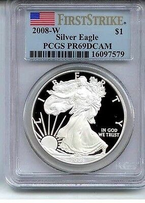 2008 ~ W ~ Silver American Eagle ~ Pcgs~Pr~69 ~Dcam ~ First Strike Gem ~ $64.88
