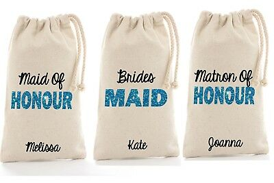 Bride Bridesmaid gift personalised canvas for satin robes slippers cosmetics bag