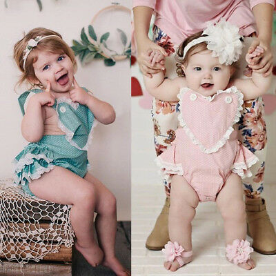 Newborn Infant Baby Girl Heart Romper Bodysuit Jumpsuit Outfit Sunsuit Clothes W