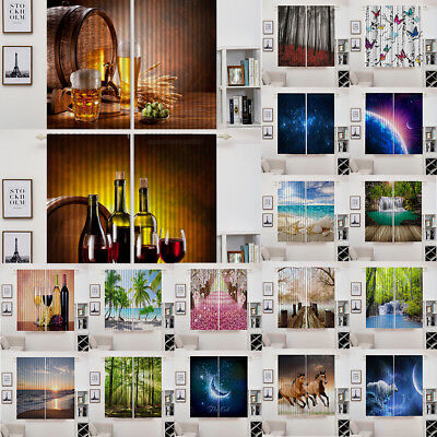 "3D Photo Curtains Window Drapes Living Room Artwork, 55x39"", 2 Panels/ Set PICK"