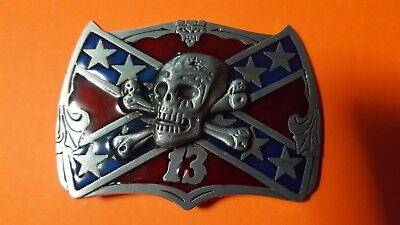 Lucky 13 Red and Star  Belt Buckle  .Suit Southern Gentleman or Rebel