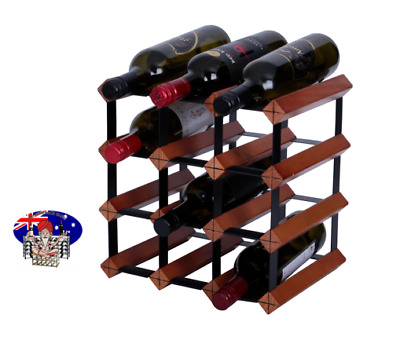 12 Bottle MAHOGANY Timber Wine Rack - FULLY ASSEMBLED - Free Delivery