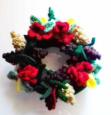Knitting Pattern For Christmas Wreath With Pine Cones Flowers No
