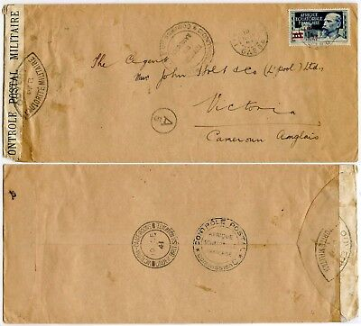 GABON to BRITISH CAMEROONS AEF LIBRE SINGLE FRANKING MILITARY CENSOR A5 1941