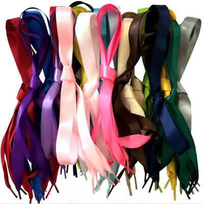 1Pair Sporting Easy Tie Satin Ribbon Shoe Laces Trainer Running Athletic Sneaks