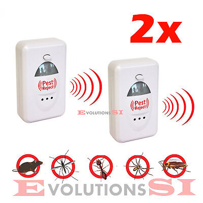 2x PEST REJECT REPELENTE ANTI PLAGAS REPELENTE DE ROEDORES INSECTOS ELECTRICO