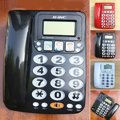 Corded Phone Big Button Landline Caller ID Desktop Telephone ABS Home/Hotel/Bar