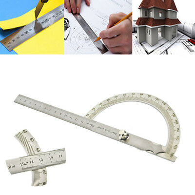 180° Stainless Steel 180 Degree Protractor Arm Measure Ruler Angle Finder Gauge