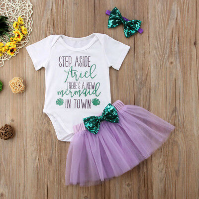 Newborn Infant Baby Girl Cotton Romper Jumpsuit Bodysuit Headband Clothes Outfit