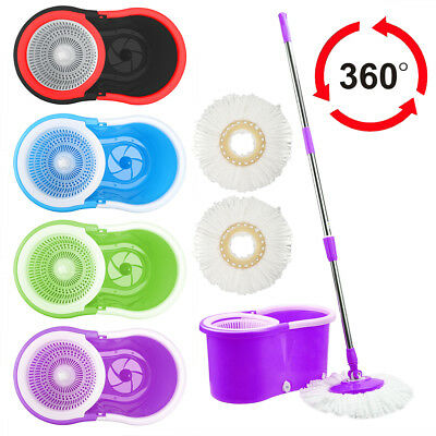 360 Degree Rotating Magic Spinning Mop Bucket Cleaning With 2 Heads Home Cleaner