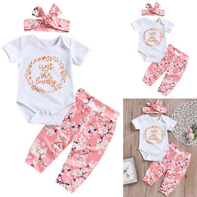 Newborn Baby Girl Romper Tops Jumpsuit Pants Headband Outfit Clothes Set