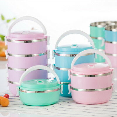 Portable Stainless Steel Thermal Insulated Food Container Round Lunch Box Bento
