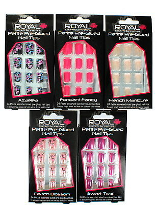 Royal 24 Petite Pre-Glued Nail Tips Made from Flexible ABS Plastic