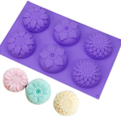 DIY 6 Cavity Flower Shaped Silicone Handmade Soap Candle Cake Mold Baking Tool