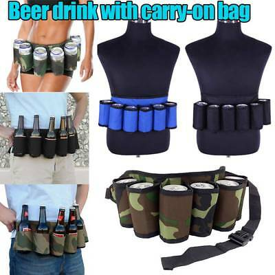 6 Pack Beer Wine Bottle Beverage Soda Can Holster Drink Waist Bag Party BBQ Belt