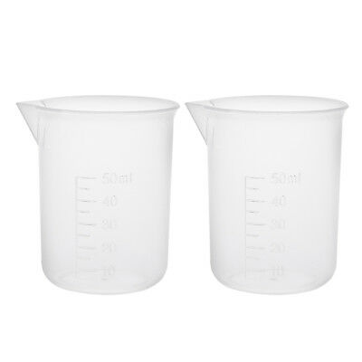 2pcs Clear Measuring Cup Labs PP Plastic Graduated Beakers 50ml