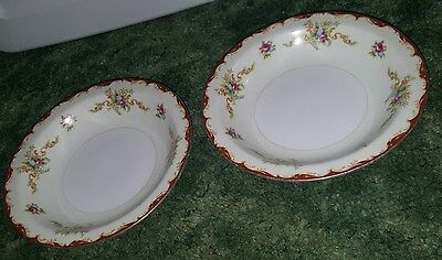 """Lot of 2 Harmony House Fine China Wembley Rimmed Fruit Dessert Small Bowl 5 1/2"""""""
