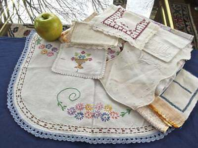 10pc Lot Antique Country Chic Linens Variety Primitive Hand Embroidery Towels +