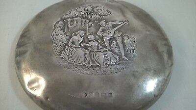 Antique Repousse decorated Sterling Silver Hand Mirror Birm 1906 Henry Matthews