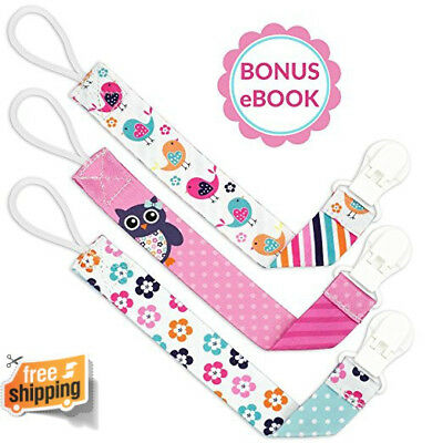 Liname Pacifier Clip for Girls Babies Toddler 2-Sided Designs Birthday Gift New