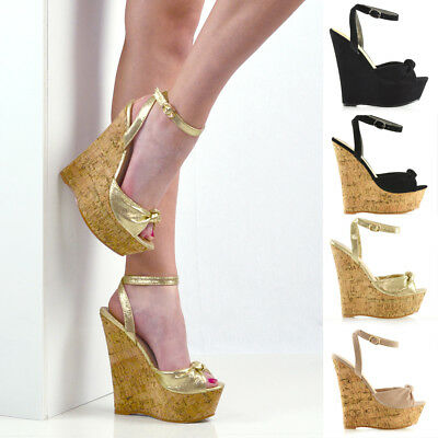 f2ed4a9d8a3 Womens Strappy Knot Two Party Wedge Heel Platform Sandals Ladies Peeptoe  Shoes