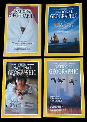 4 x National Geographic Magazines  1990/91/92