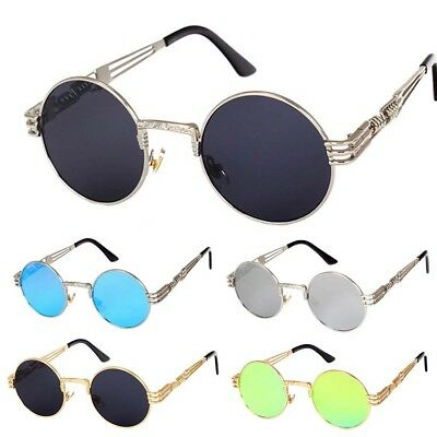 Vintage Classic Steampunk Sunglasses Luxury Metal Retro Circle Round Sun Glasses