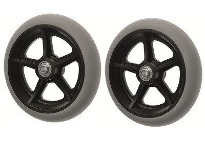 "PAIR OF (x2)  200mm (8"") Non-Marking Grey Rubber Wheelchair Wheels"