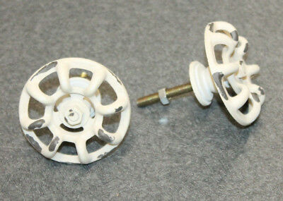 2 Distressed White Faucet Valve Handle Door Drawer Knob Steampunk Farmhouse