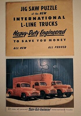Vintage  International Harvester L-Line Truck Advertising Jigsaw Puzzle w Sleeve