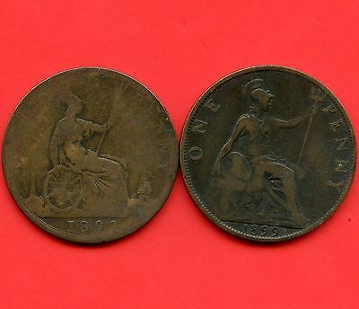 1893 & 1899 Great Britain 1 Penny Coins
