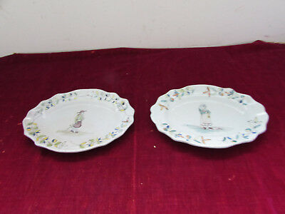 paire d anciens plats en faience decor breton signe p b x pouplard beatrix