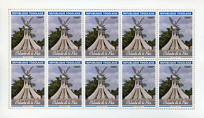Togo 2017 MNH Dove of Peace Statue 10v M/S Doves Birds Art Architecture Stamps