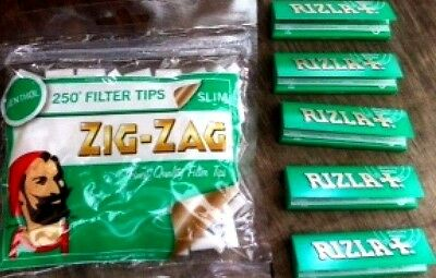 1 x ZIG ZAG SLIM MENTHOL Filter Tips 5 x GREEN RIZLA Cigarette Rolling Papers