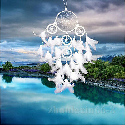Decor Handmade Ornament Home Wall Car Hanging White Dream Catcher Feathers Beads