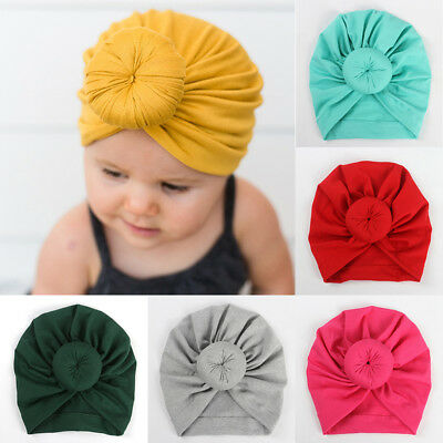 Baby Infant Kids Children Unisex Ball Knot Turban Colorful Hairbands Warm Hat