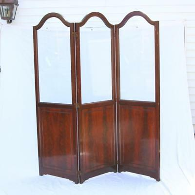 Fine Antique English Mahogany 3 Panel Glass Screen / Room Divider Rare Folding